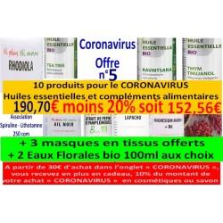 Shanti bio, Coronavirus Offre n° 5 (+ 3 masques tissus offerts + 2 Eaux Florales bio 100ml différentesau choix)