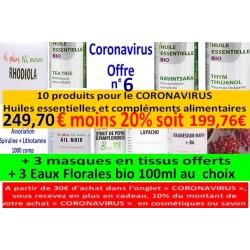 Shanti Bio, Coronavirus Offre n° 6 (+ 3 masques tissus offerts + 3 Eaux Florales bio 100ml au choix)