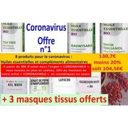 Shanti Bio, Coronavirus Offre n° 1 (+ 3 masques tissus offerts)